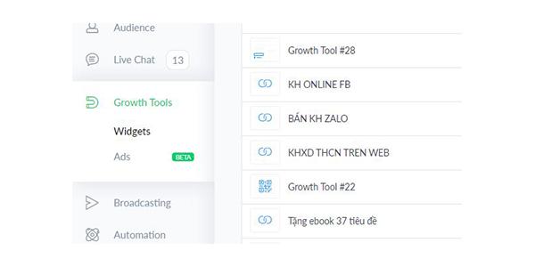Vào mục Growth Tools trên Manychat