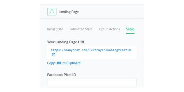 Copy link ở mục Your Landing Page URL để test thử