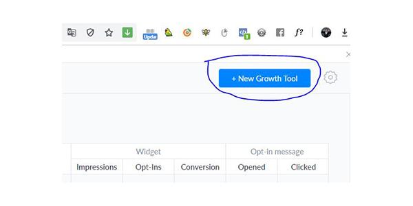 Chọn New Growth Tools góc phải trên Manychat