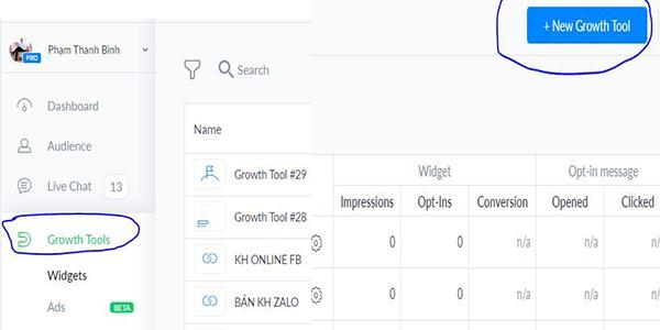 Chọn Growth tools và New Groth tool trên manychat