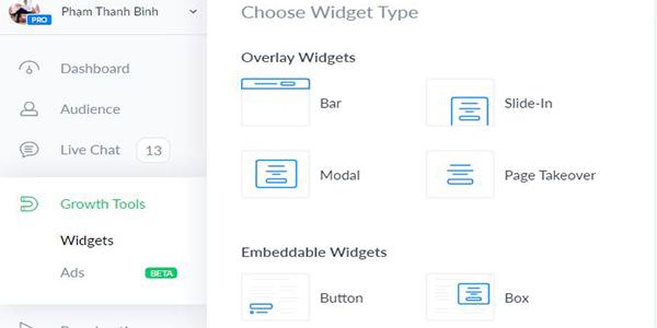 Chọn Modal của Widgets