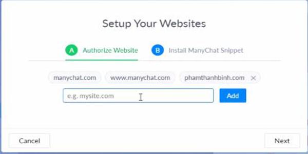 Nhập tên web mà muốn hiển thị Poup