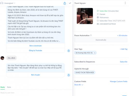 Tính năng Livechat thể hiện rõ chân dung khách hàng