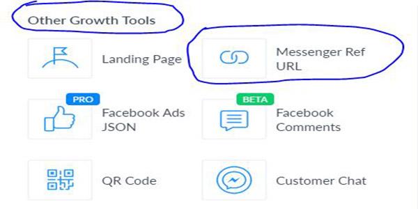 Vào Other Growth Tools và Messenger Ref URL trên manychat