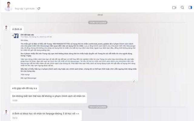 Gửi tin nhắn vi phạm chính sách thẻ Confirmed Event Update